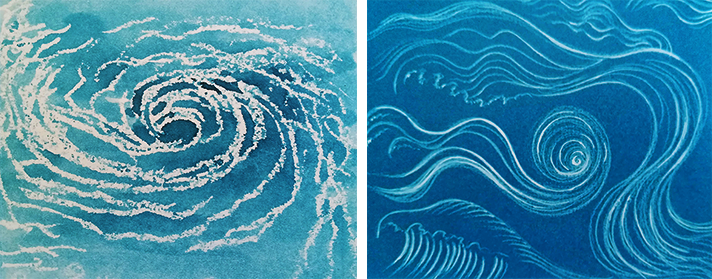 pintar el agua-torbellinos-técnicas-metta gislon