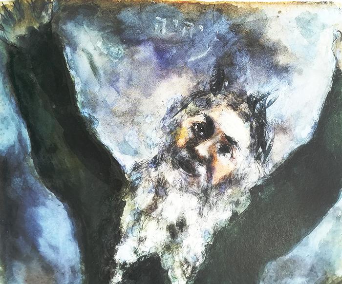 chagall-biblia-moisés esparce la muerte entre los egipcios