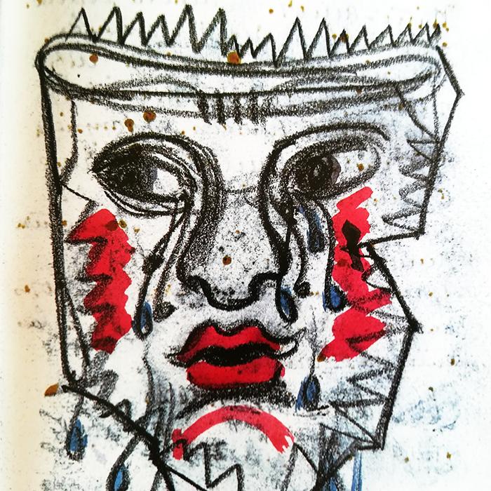 diario de Frida-retrato-blanconegro