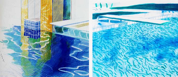 pintar el agua-estudios de agua-David Hockney